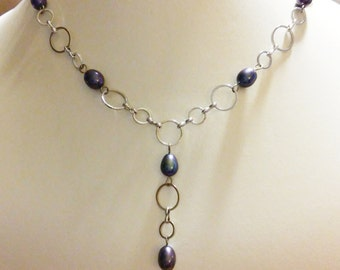 Silver & Pearl Y-Necklace