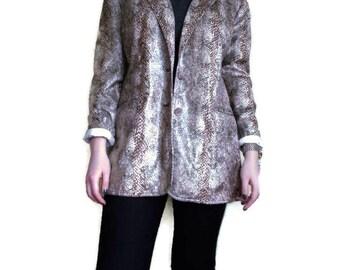 Vintage Oversized blazer, Snakeskin blazer, 80s blazer, Boxy blazer, Vintage womens blazer, Loose blazer Size M/L