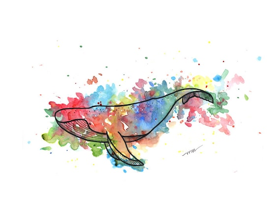 Whale Watercolor Print - Whale Art - Yellow Blue Red Green Whale Modern Abstract Print Decor