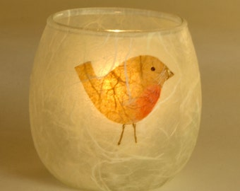 Robin candle holder - small tealight votive - natural strawsilk on glass by Karen Keir handmade in Devon