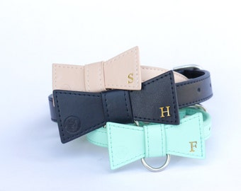 Personalised leather bow tie dog collar with monogram, designer leather dog collar, mint collar, dog accessories