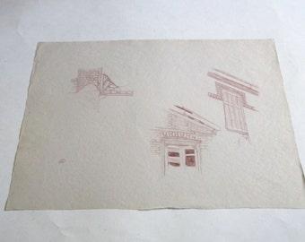 vintage original pen drawing, signed