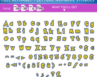 POKEMON FONT SVG Alphabet svg dxf Cutting Files for Vinyl Cutter & heat press transfer cameo Cricut Heat transfer, Silhouette pikachu 013
