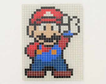 Super Mario handmade mosaic wall art; glass mosaic wall art; retro vintage video games;
