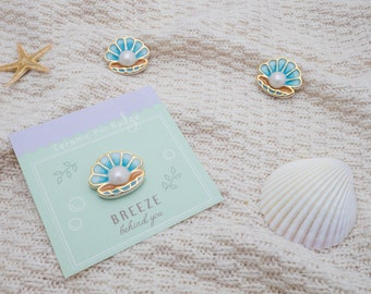 Handmade Ceramic Shell Brooch