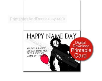 Game of Thrones Birthday Card Digital Download Jon Snow Name Day 5x7 Card