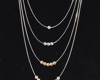 Real Freshwater Pearl Necklace with Silver Snake Chain (Natural Nugget Shape, Various colors available)