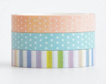 Pink/Blue dots Rainbow Stripe Washi Deco Tape - 8mm X 5 metres