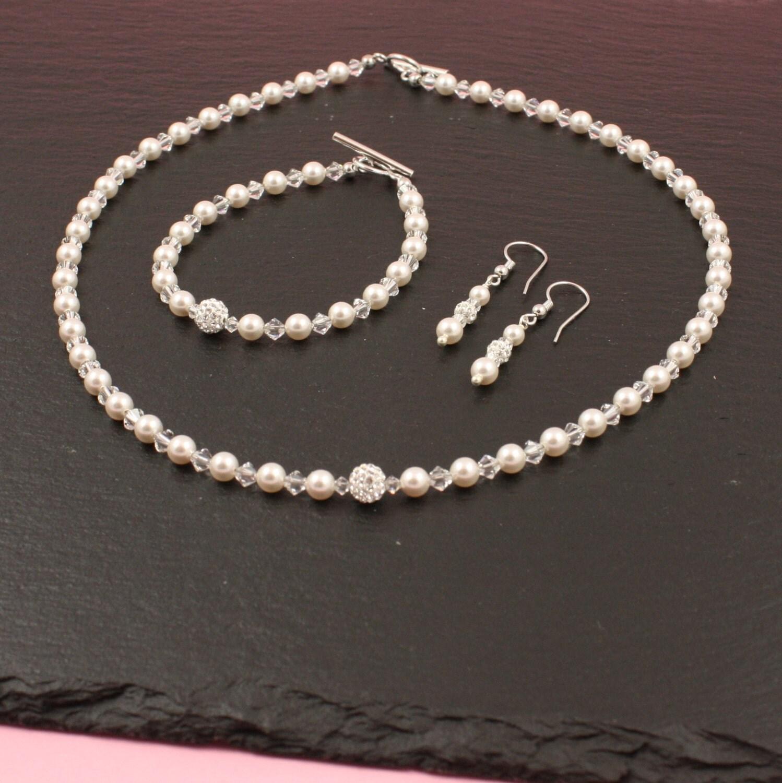 Brautschmuck swarovski  Perlenset Allesia Braut Brautschmuck Swarovski Perlen