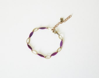 Shuttle brass and leather bracelet with copper colors and very cute purple hand made