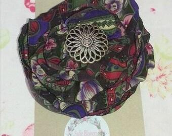 Flower Hair Clip/ Slide/Grip Brown Red Purple Green & White Flower Button Center