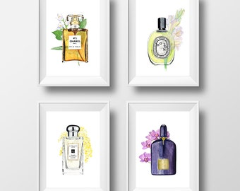 set of 4 prints, Chanel prints, perfume illustrations - 2 sizes available Giclee print