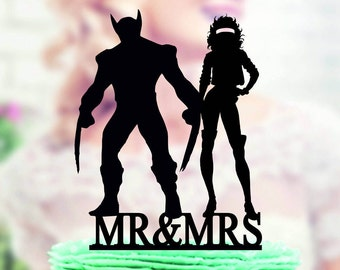 Rogue and Wolverine Super Hero Topper  Rogue topper  Superhero Silhouette Superhero Topper  Wolverine Cake Topper Mr and Mrs X-Men Topper