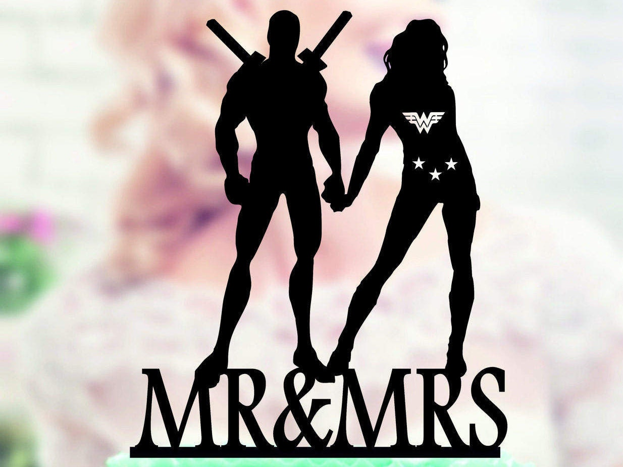 Deadpool and Wonder Woman Silhouette Cake Toppers