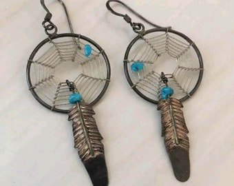 Old Sterling silver turquoise Dream Catcher Earrings