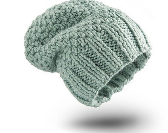 Thick Hat Grey Mint Wool for women beanie hat  chunky hand knit hat