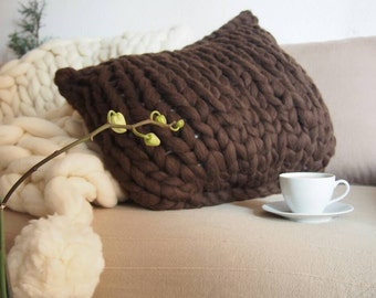 XL 60 x 50 cm. Chunky Merino Wool cushion wool. Giant point. Super thick pad. Cushion. Premium 21 micr. Fabric without seams.