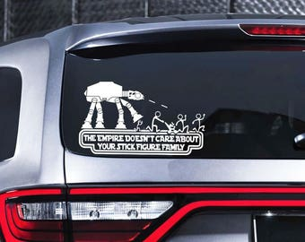 Star Wars Stick Figure Family Car Decal Star Wars Vinyl Decal The Empire Doesn't Care About Stick Figure Family Sticker For Laptop