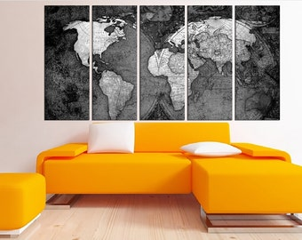black and white world map canvas art print, old world map wall art, large canvas print, extra large wall art, No:4S50