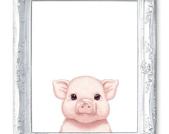 Pig Art Pig Painting Pig Print Pig Illustration Painting Animal Painting Print Pig Nursery Art Pig Baby Pig Pink Piglet Farm Animal Print.