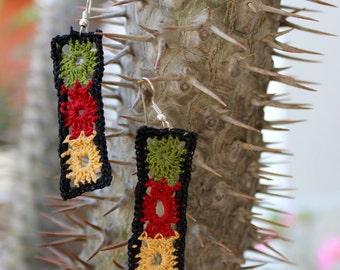 Lovely Crochet Earrings, Crochet Jewellery, Crochet Flower Earrings Gift, Cotton crochet earrings. Green, red and yellow mini crochet flower