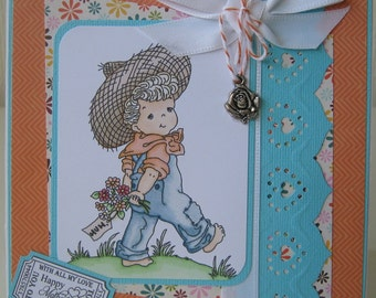 Happy Mother's Day Matted and Layered Mother's Day Card  with Metal Rose Charm With All My Love Mum