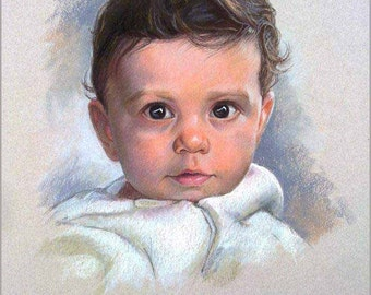 Custom portrait pastel painting of the kid, custom portrait from photo