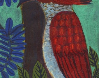 original painting on paper - Pic-rouge - red woodpecker -
