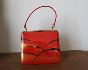 Vintage Japanese Kimono Bag /// Vintage Japanese Kimono Bag, Red bag, vintage Gold frame bag, Vintage Red frame bag, Japanese frame red bag