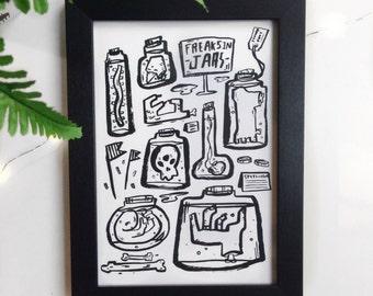 Freaks In Jars A5 Art Print