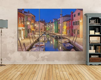 3 Pieces Burano island, Venice canal and colorful houses Leather Print/Burano Large Print/Burano Wall Art/Multi Panel/Better than Canvas!