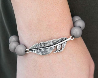 Silver Feather Corded Bracelet