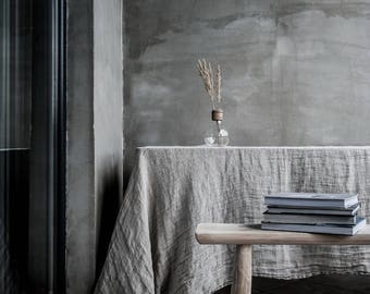 "Natural linen tablecloth 150x300cm / 59x118"". Ethereal linen muslin tablecloth. Light and fluid table cover."