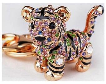 Keyring Keychain  pendant with rhinestone zirconia Tiger gold color