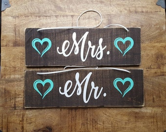 Mr. and Mrs. Chair Signs.Rustic Wedding Chair Signs. Wedding signs. Bride and Groom chair signs.