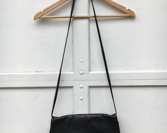 Black Faux Leather Envelope Bag