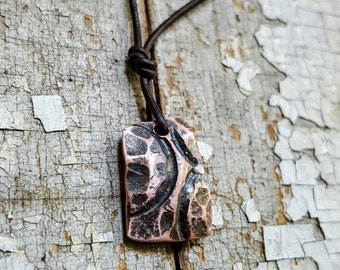 Taking Flight-Rising Phoenix, Abstract Copper Pendant Necklace, hammered texture, aged patina