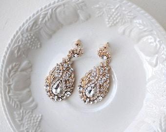 Bridal rhinestone earrings - Eloise