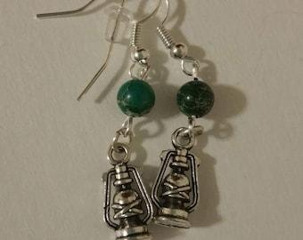 Green Bead Lantern Earrings