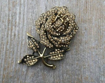 Citrine Rhinestone Encrusted Rose Brooch