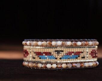 Bohemian Cuff Bracelet woven beads Miyuki