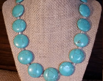 Turquoise Howlite Gemstone Rounds with Swarovski Crystals