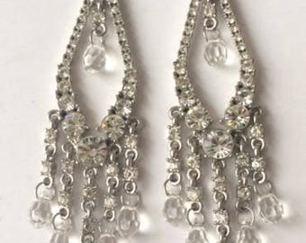 Vintage 1950's Clear Rhinestones & Beads Silver Dangle Drop Long Chandelier Earrings