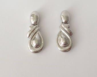 Vintage 1970's Silver Twisted Dangle Drop Earrings