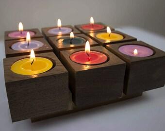 Candle Holders, Walnut Wood, Cubes, Set of 9 Candles,شمع،شموع،حامل شمع،تحف،تحفة خشب الجوز،