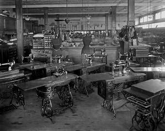 Old Singer Sewing Machines Photograph, Black White Photo of Sewing Room, Early 1900s, Wall Art, Washington, D.C, Craft Room Decor