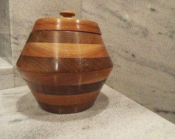 Vintage Mid-Centry Wooden (Walnut and Cherry) Canister