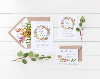 Summer Leaves Wedding Invitation Suite, the Ruby Suite, Floral Wedding Invitations, Printable Invite, Invite + RSVP + Save the Date