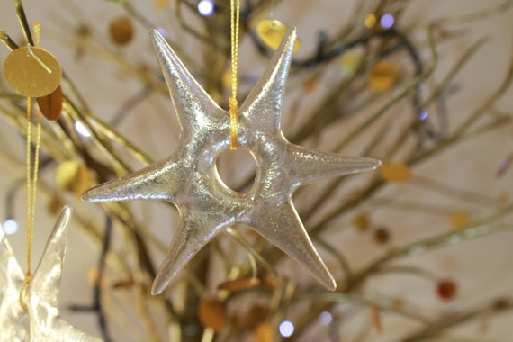 Set of 3 - Fused Glass Gold Stars