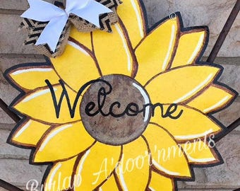 Sunflower Burlap Door Hanger - Summer Door Decoration - Fall Door Hanger - Front Door Decor